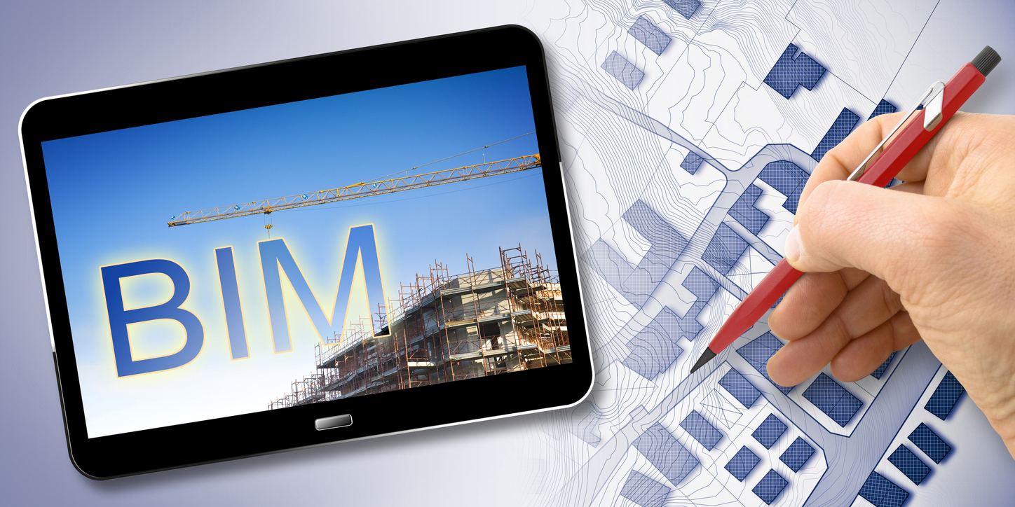 Building Information Modeling (BIM), a new way of architecture designing - concept image with a metal tower crane in a construction site and 3D render of a digital tablet